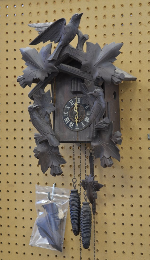 German carved wood cuckoo clock, with damage, 15 1/5""