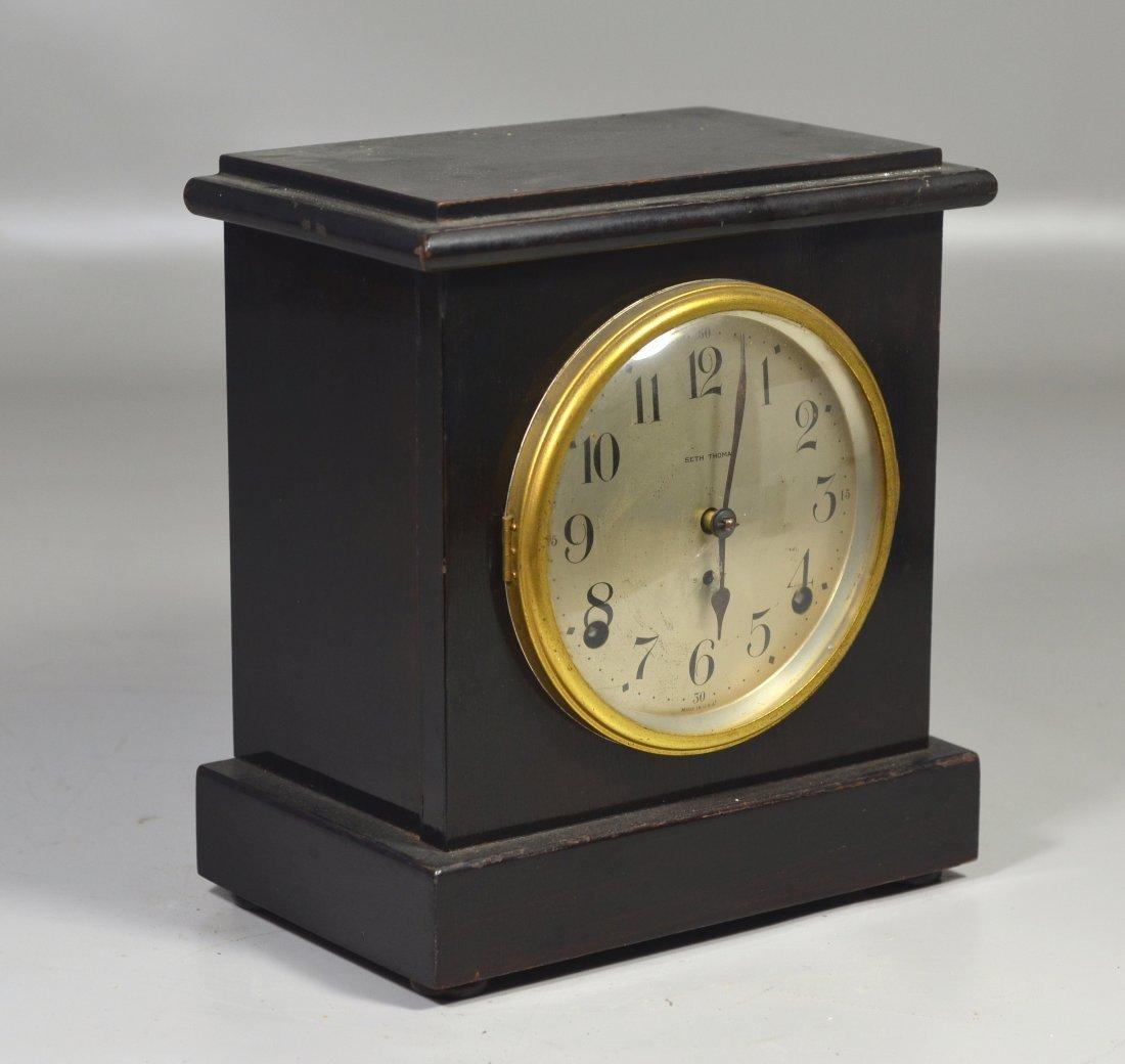 "Seth Thomas wood mantle clock, 9 1/2"" high x 8 1/2"""