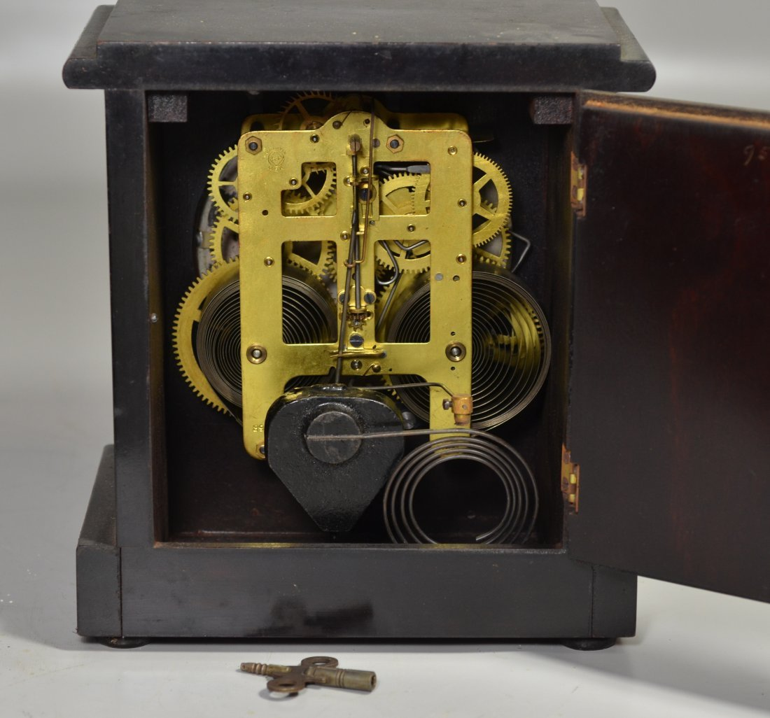 "Seth Thomas wood mantle clock, 9 1/2"" high x 8 1/2"" - 3"