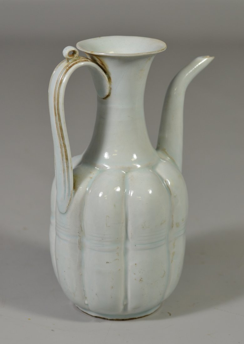 Early Chinese pale celadon ewer with minor chip to lip, - 2