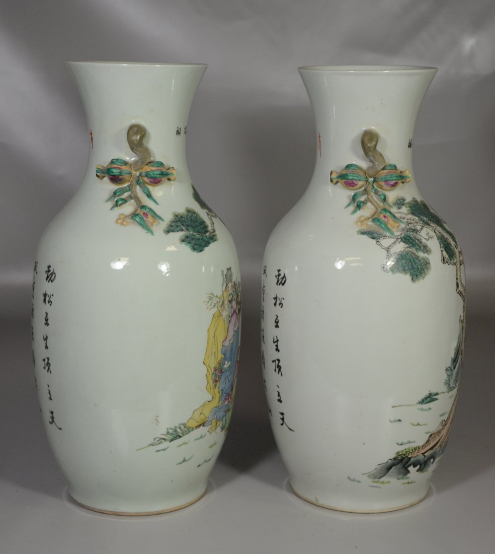 Pair of Chinese porcelain vases with figures in a - 4