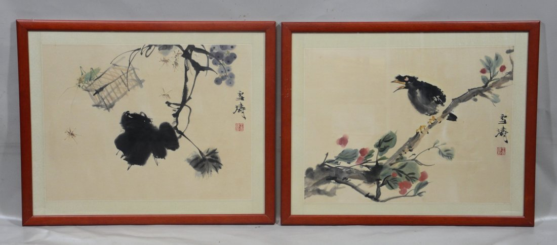Two (2) Chinese prints, one with fruit and crickets,