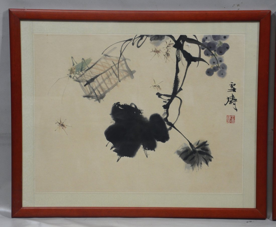 Two (2) Chinese prints, one with fruit and crickets, - 2