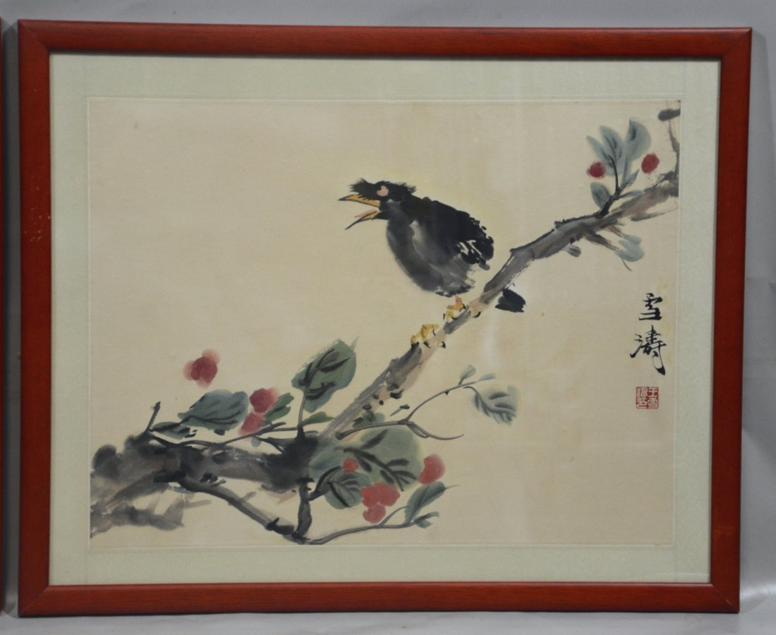 Two (2) Chinese prints, one with fruit and crickets, - 3