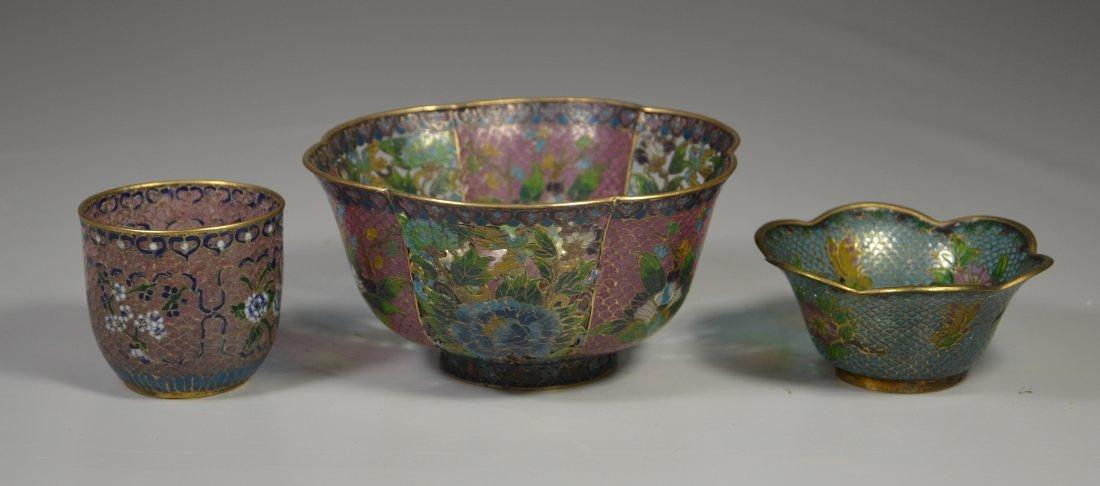 (3) Pieces Chinese plique a jour, including large bowl