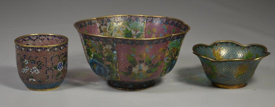 (3) Pieces Chinese plique a jour, including large bowl - 2