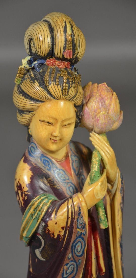 Polychrome figure of young maiden holding lotus - 2