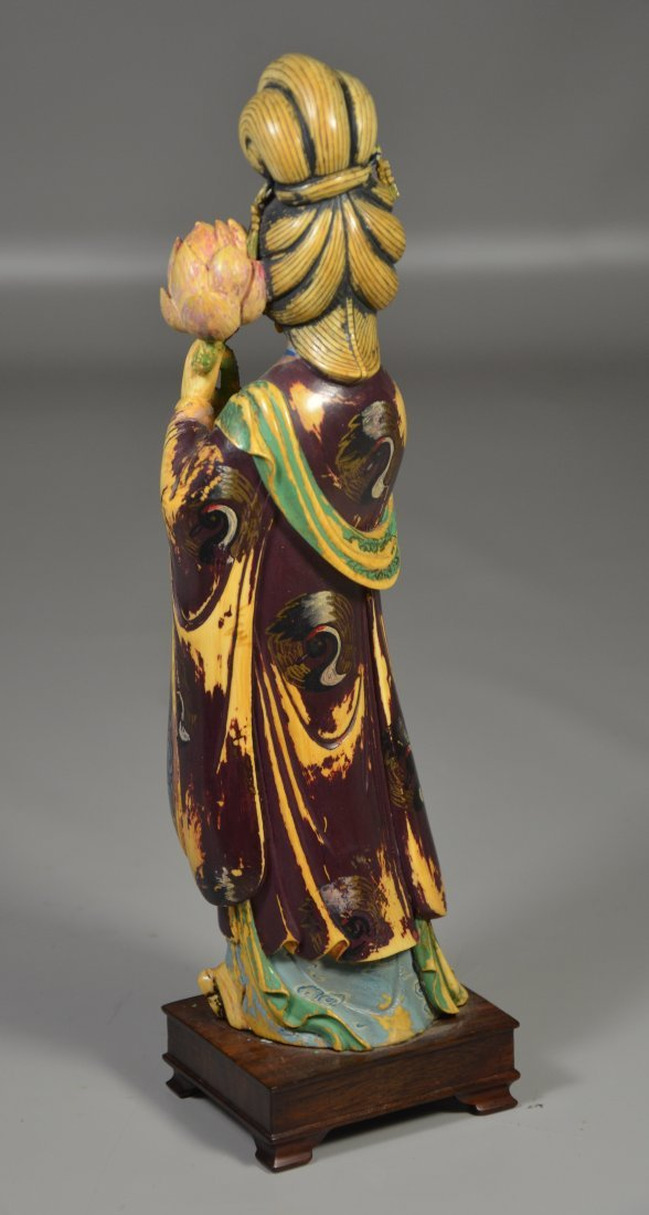 Polychrome figure of young maiden holding lotus - 3