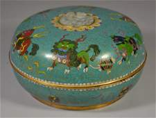 Chinese cloisonne & carved hardstone covered box,
