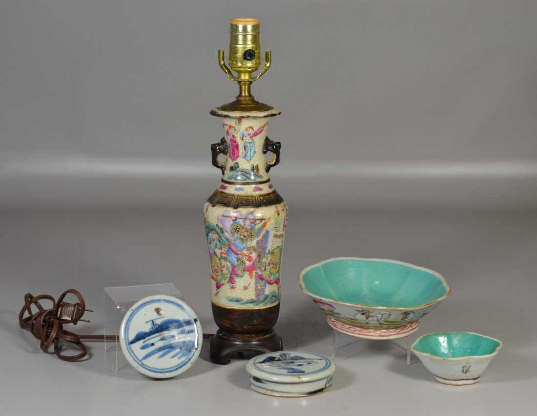 (5) Pieces Asian porcelain, including Famille Rose