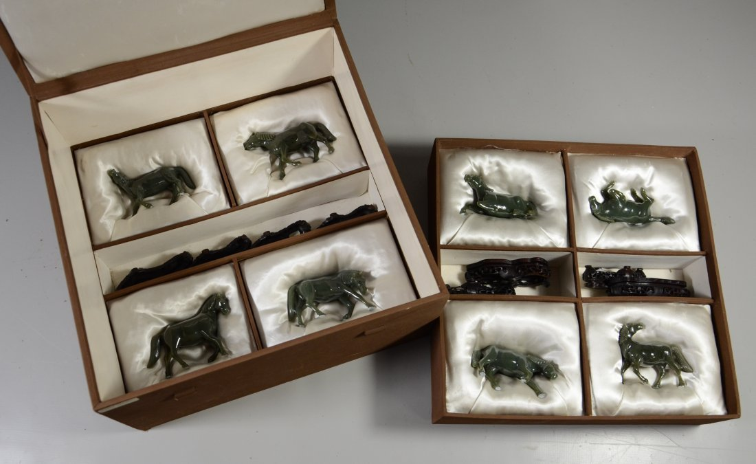 Boxed set of 8 Chinese carved hardstone horses, custom - 2