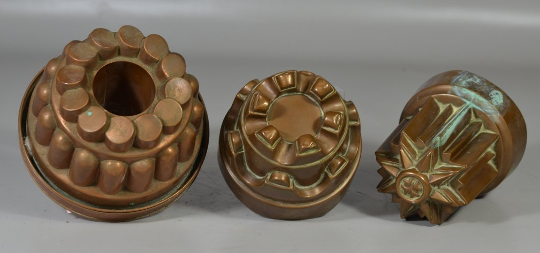Three (3) copper molds, one with lid, one marked - 2