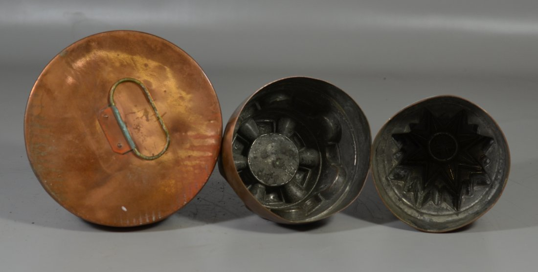 Three (3) copper molds, one with lid, one marked - 3