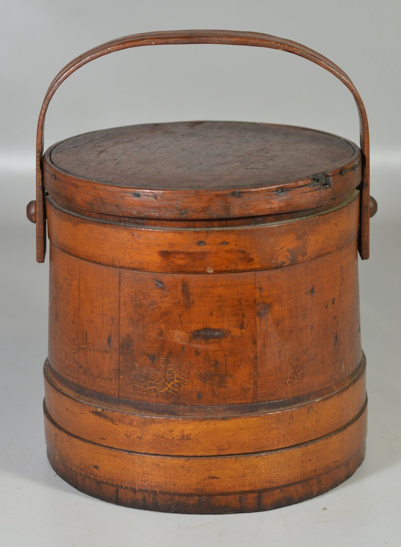 Early wood firkin with original finish, small area of