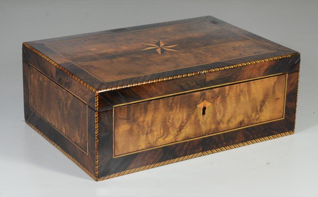 Burlwood mahogany & satinwood inlaid dressing box, star
