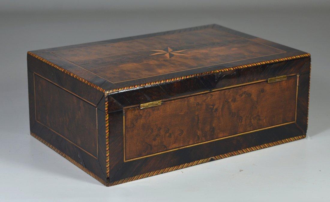 Burlwood mahogany & satinwood inlaid dressing box, star - 2