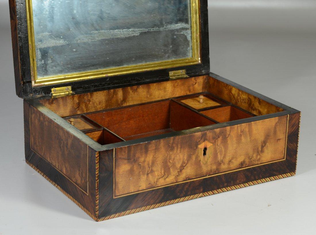 Burlwood mahogany & satinwood inlaid dressing box, star - 3