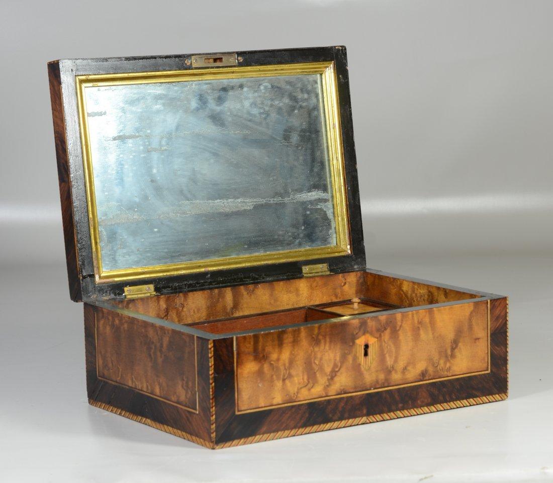 Burlwood mahogany & satinwood inlaid dressing box, star - 4