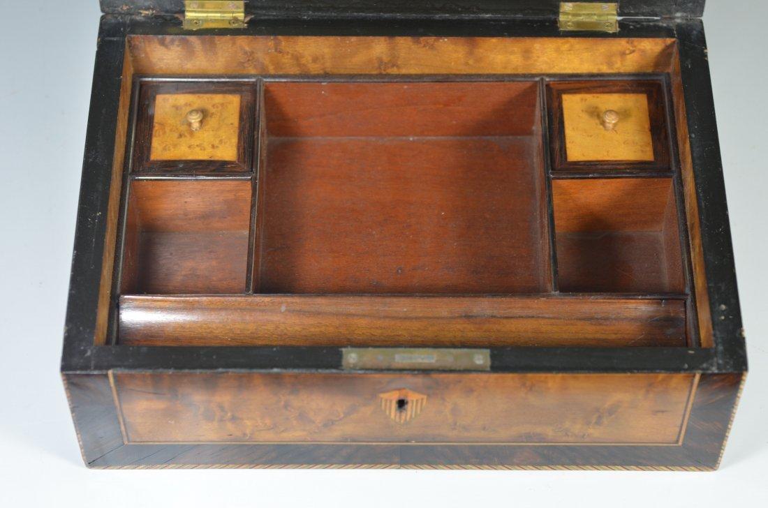 Burlwood mahogany & satinwood inlaid dressing box, star - 5