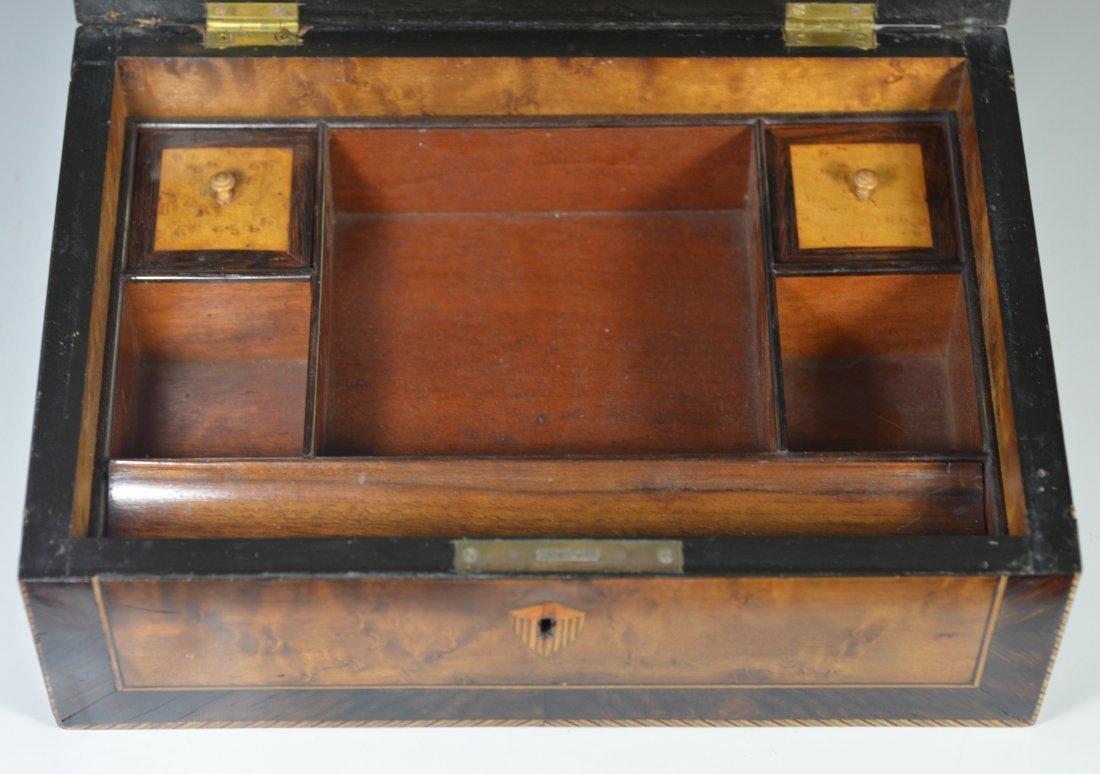 Burlwood mahogany & satinwood inlaid dressing box, star - 6