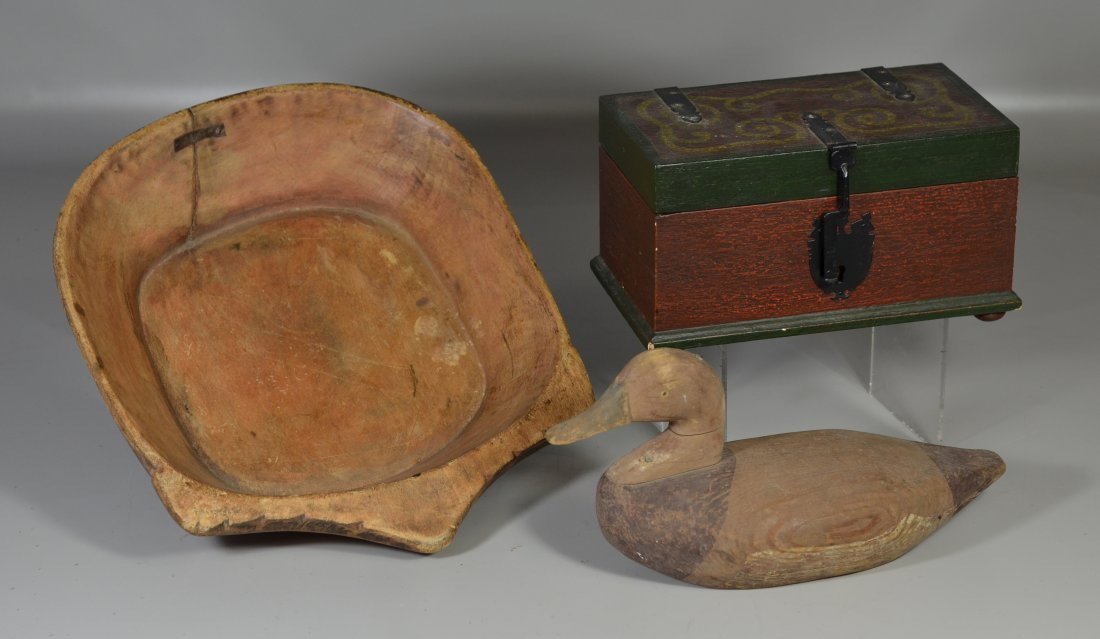 (3) Wood pieces, including mixing bowl with old repair,