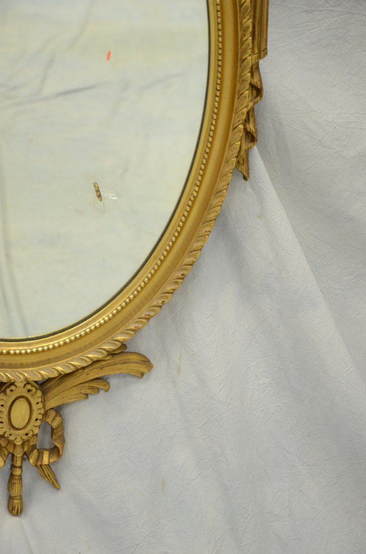 Oval gilt framed classical style mirror, sheaf of wheat - 3