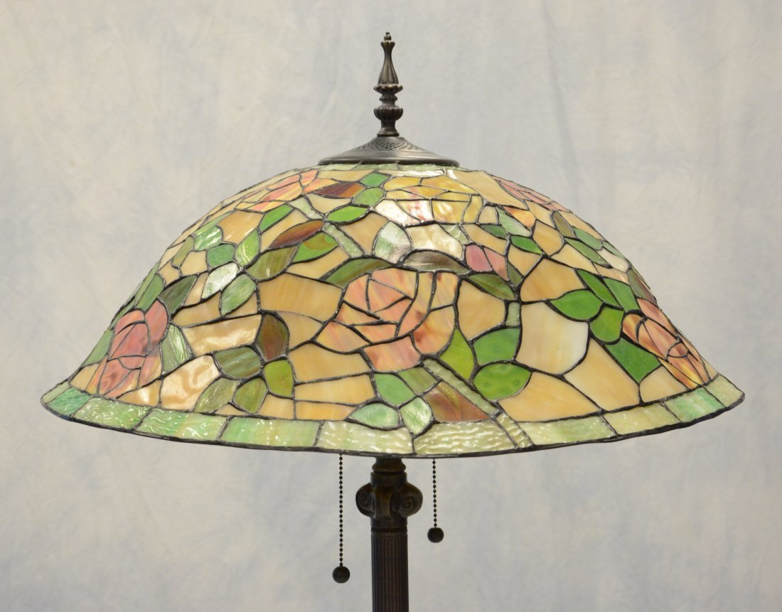 "Tiffany style faux stained glass floor lamp, 67"" h - 2"