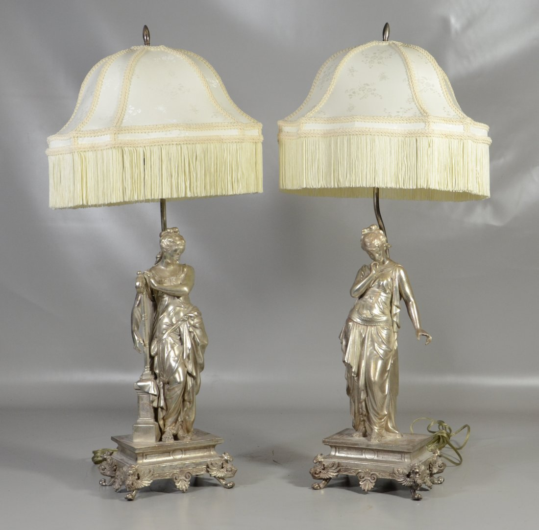 Pair of Silver Patinated White Metal Table Lamps