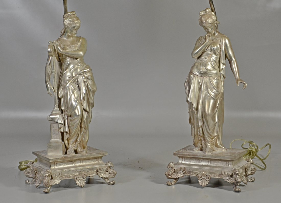 Pair of Silver Patinated White Metal Table Lamps - 2