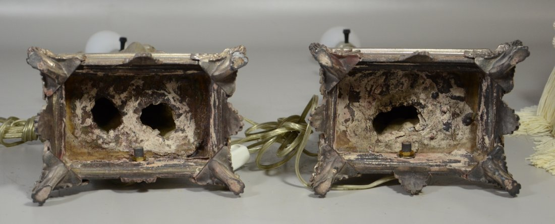 Pair of Silver Patinated White Metal Table Lamps - 4