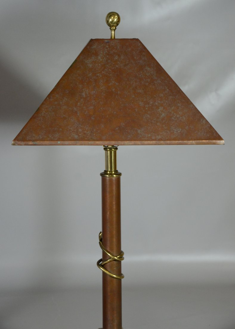 Pair of Maitland Smith copper table lamps,  harps not - 2