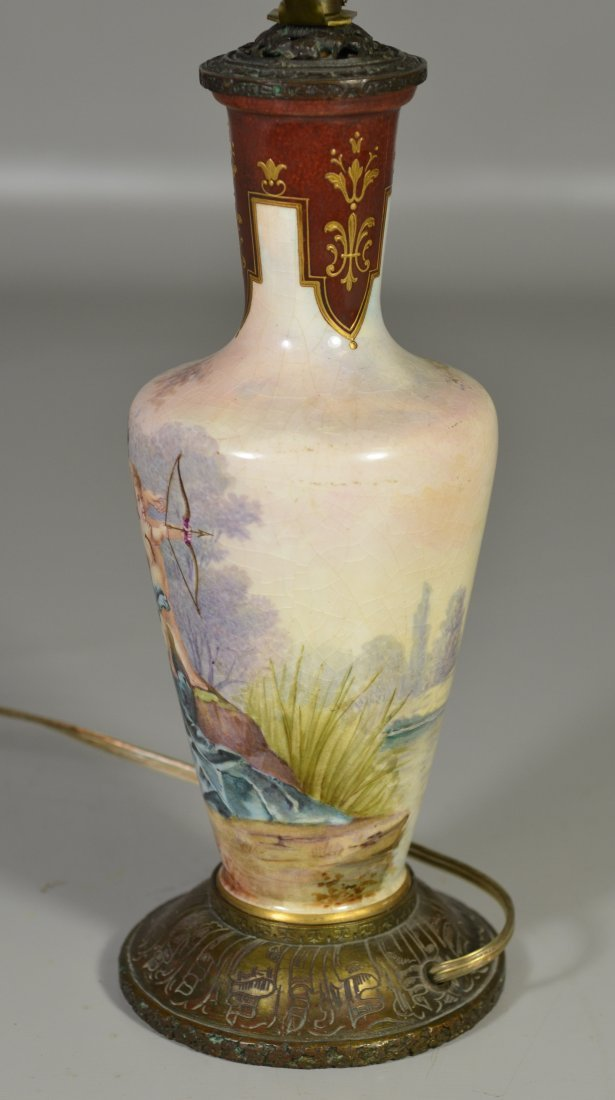 Sevres style vase mounted as table lamp, decorated with - 3