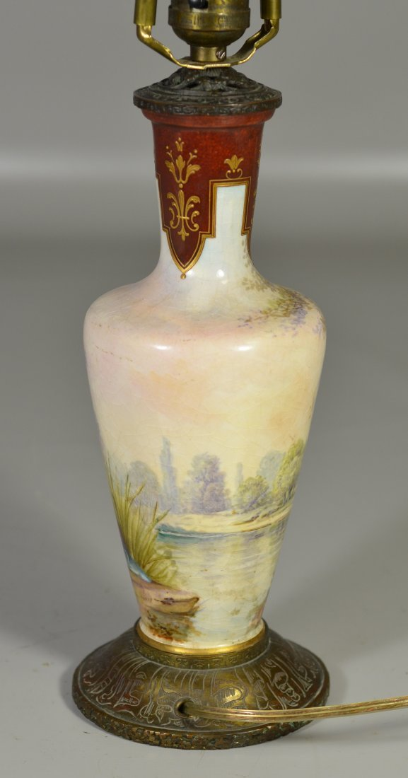 Sevres style vase mounted as table lamp, decorated with - 4