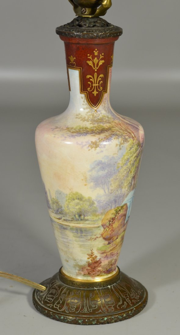 Sevres style vase mounted as table lamp, decorated with - 5