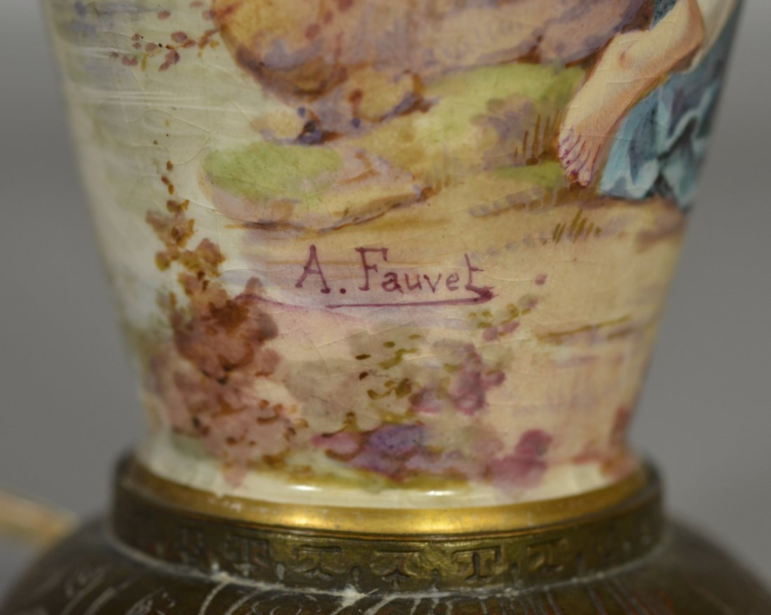 Sevres style vase mounted as table lamp, decorated with - 6