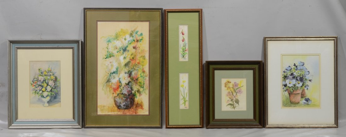 (5) Paintings and watercolors of floral still lifes