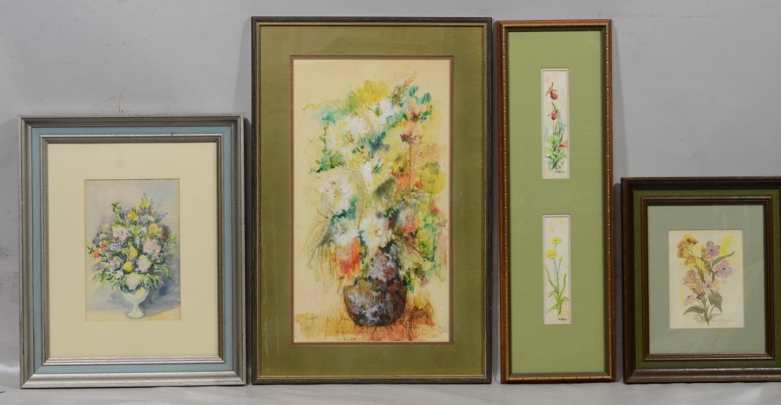 (5) Paintings and watercolors of floral still lifes - 2