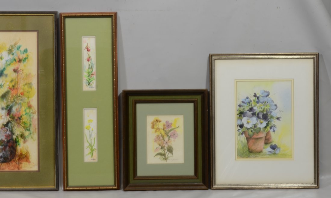 (5) Paintings and watercolors of floral still lifes - 3