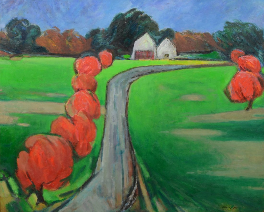 """G Ralph Smith (1941 - 2010) Landscape painting """"Red"""