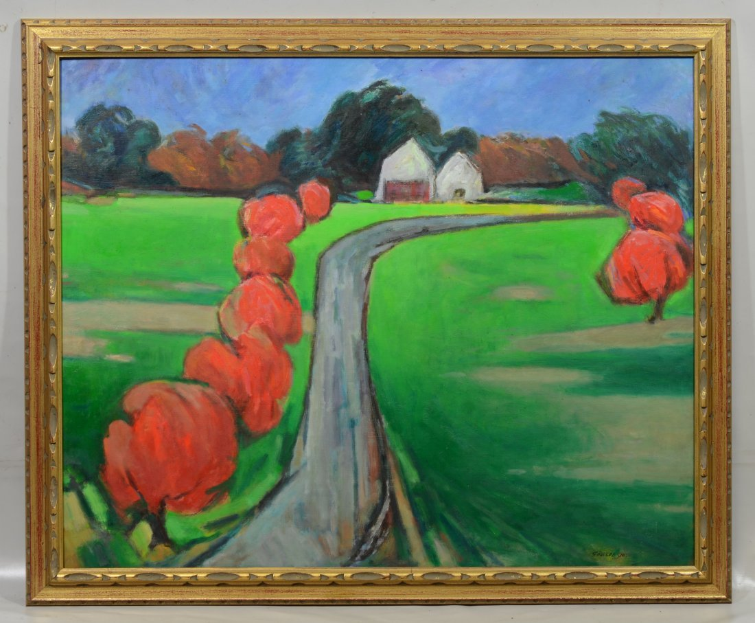 """G Ralph Smith (1941 - 2010) Landscape painting """"Red - 2"""