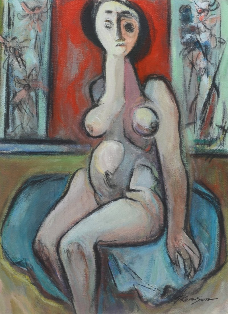 "G Ralph Smith (1941 - 2010) Female Nude, ""Resting"""