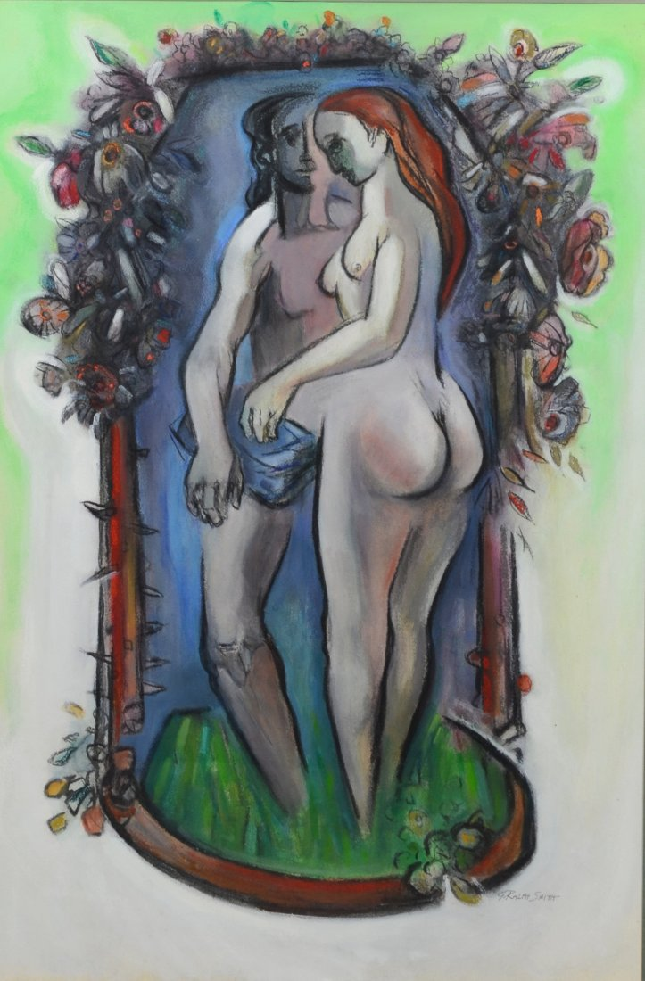 G Ralph Smith (1941 - 2010) gouache painting of nudes