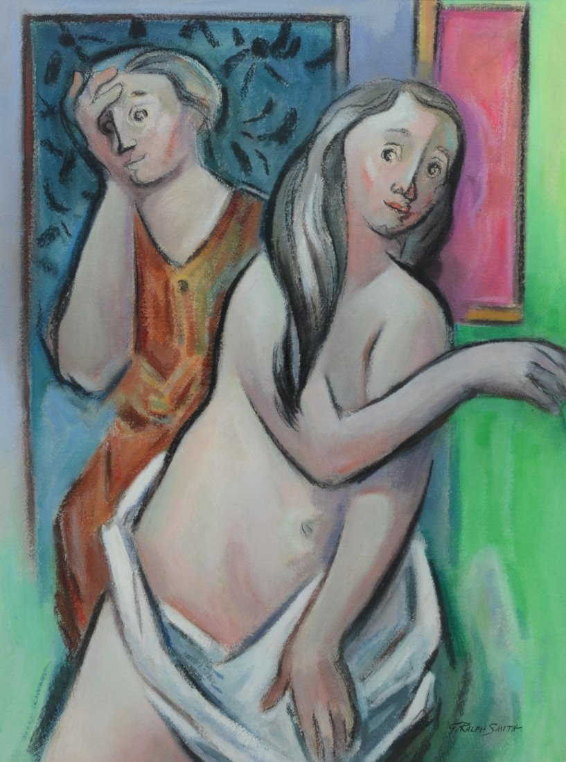 G Ralph Smith (1941 - 2010) gouache painting of female