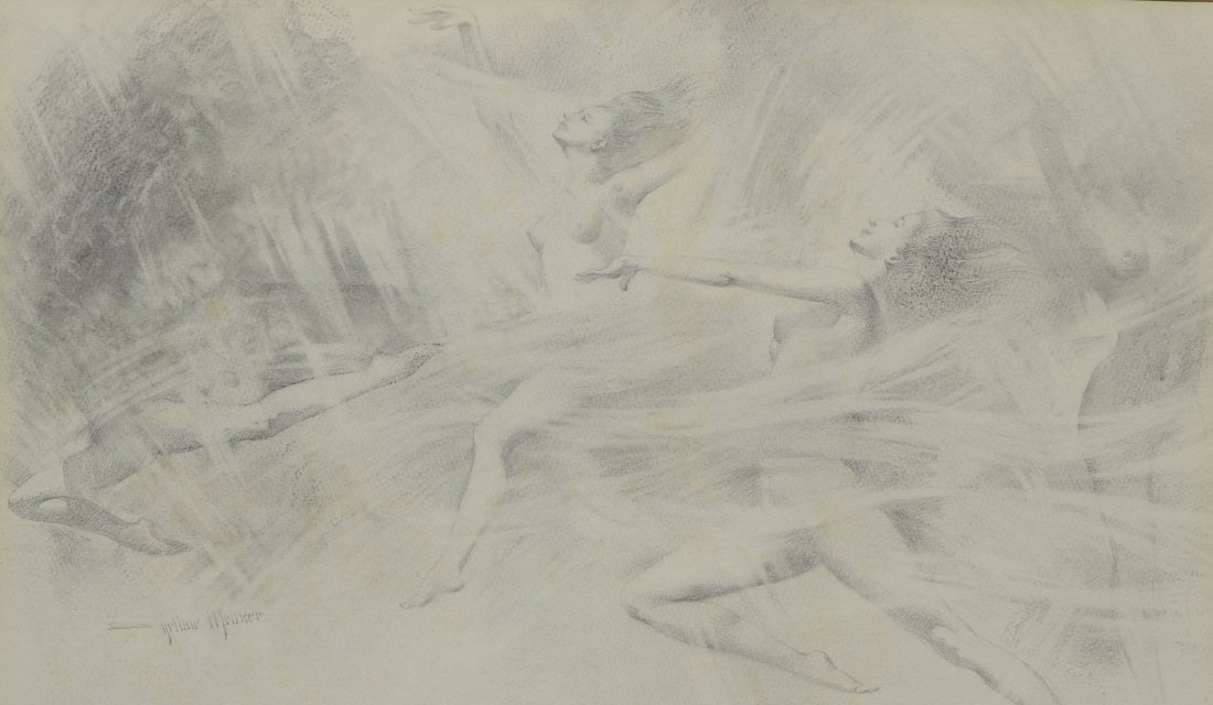 Arthur Meltzer (1893 - 1989) pencil drawing of female