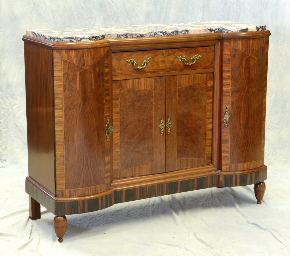 French inlaid art noveau pink marble top sideboard with