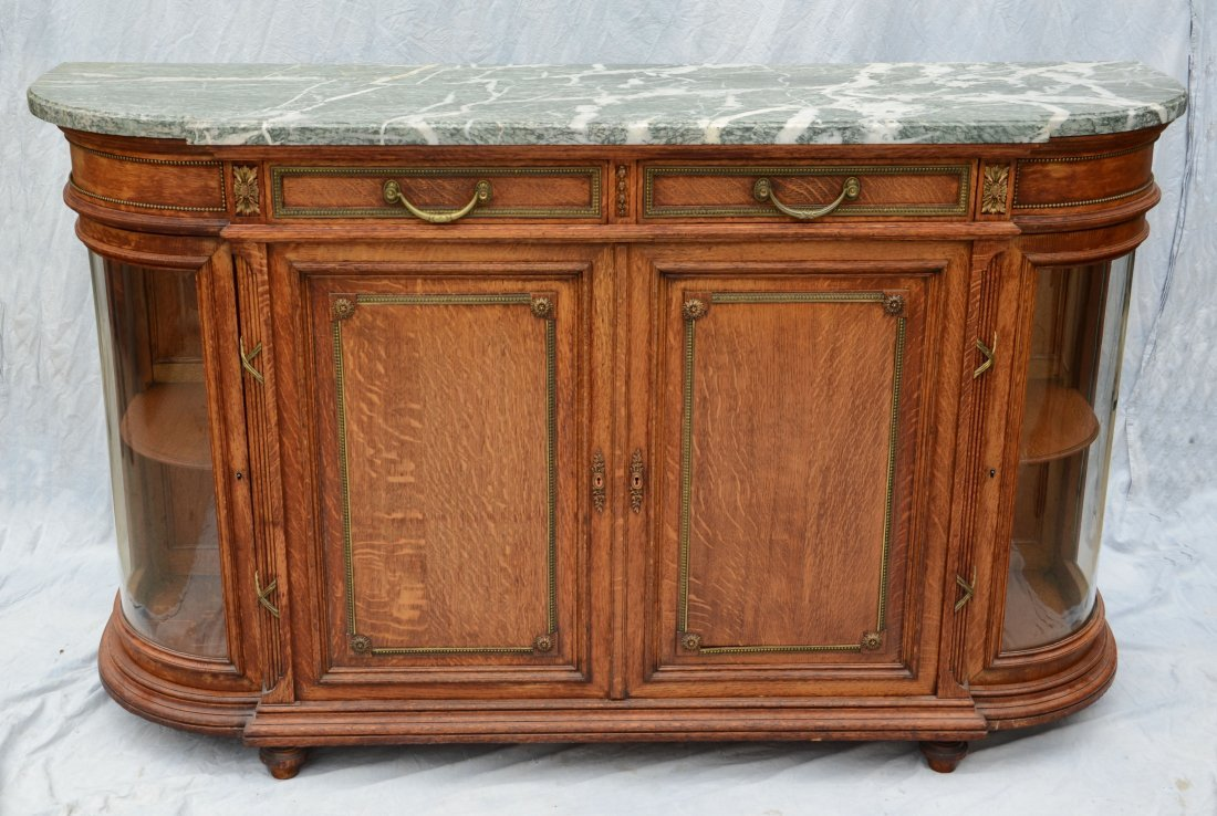 French green marble top oak sideboard, 2 drawers over 2