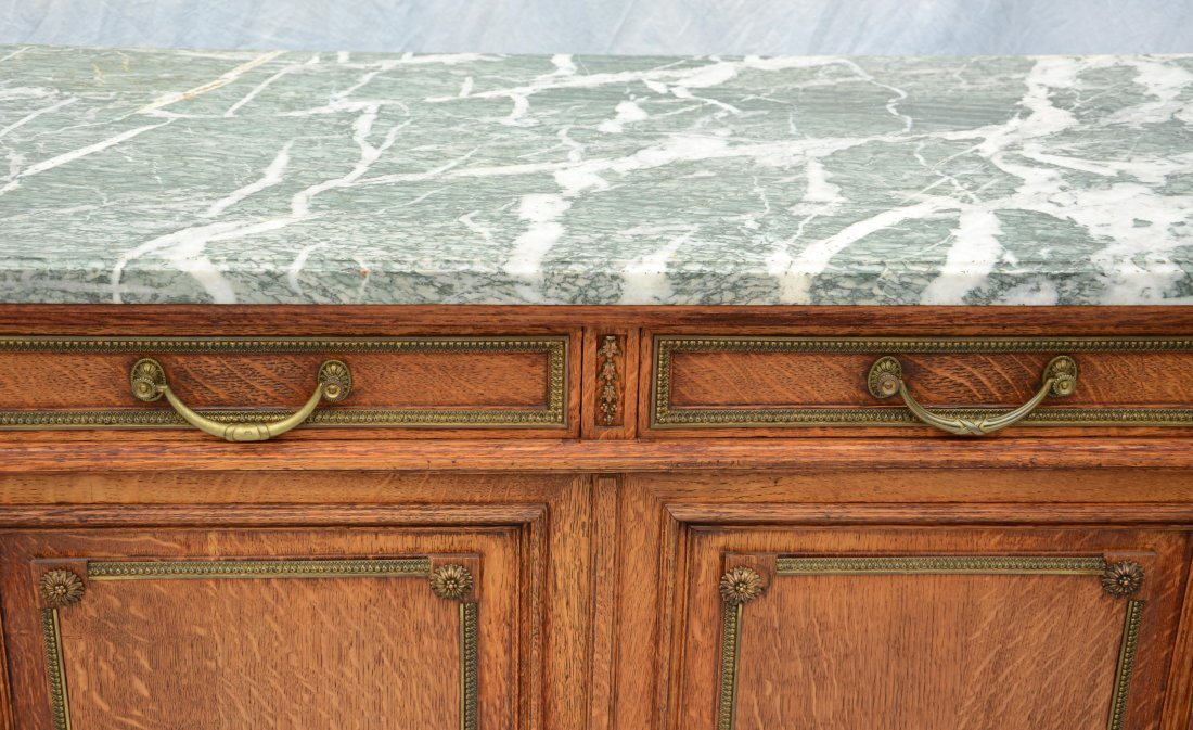 French green marble top oak sideboard, 2 drawers over 2 - 3