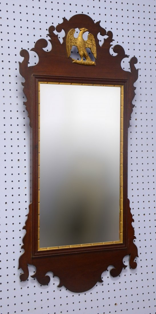 19th century Chippendale style mirror with gilt eagle