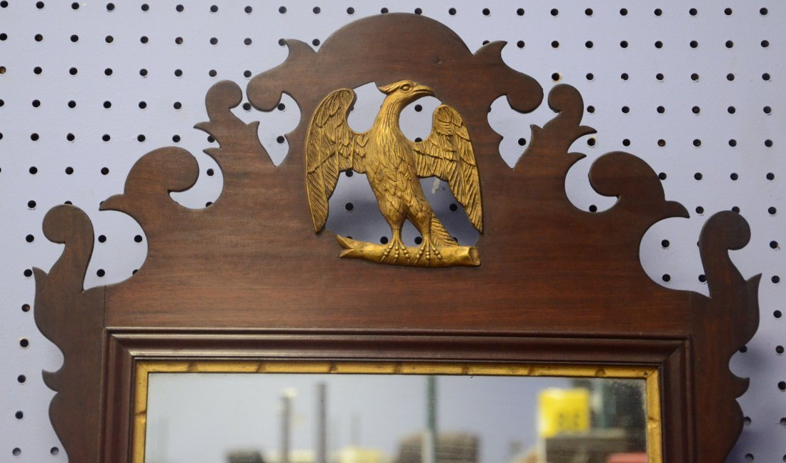 19th century Chippendale style mirror with gilt eagle - 2