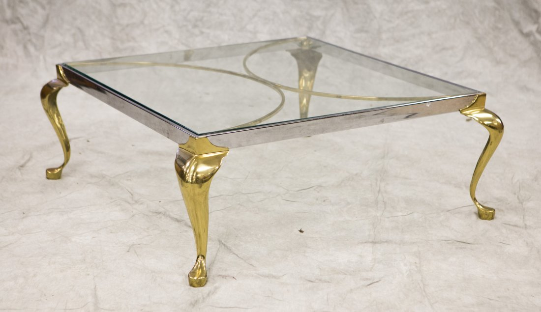 """WMG Chrome and Brass glass top coffee table, 15"""" h, 36"""""""